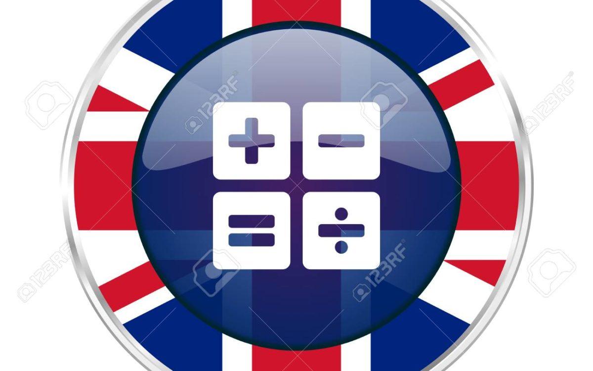 calculator british design icon - round silver metallic border button with Great Britain flag