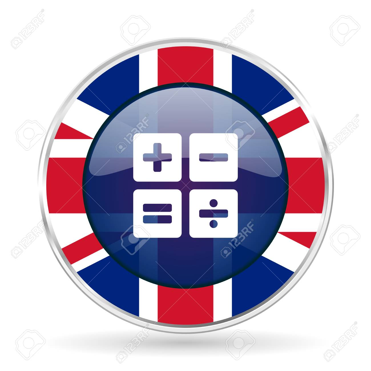 calculator british design icon - round silver metallic border button with Great Britain flag